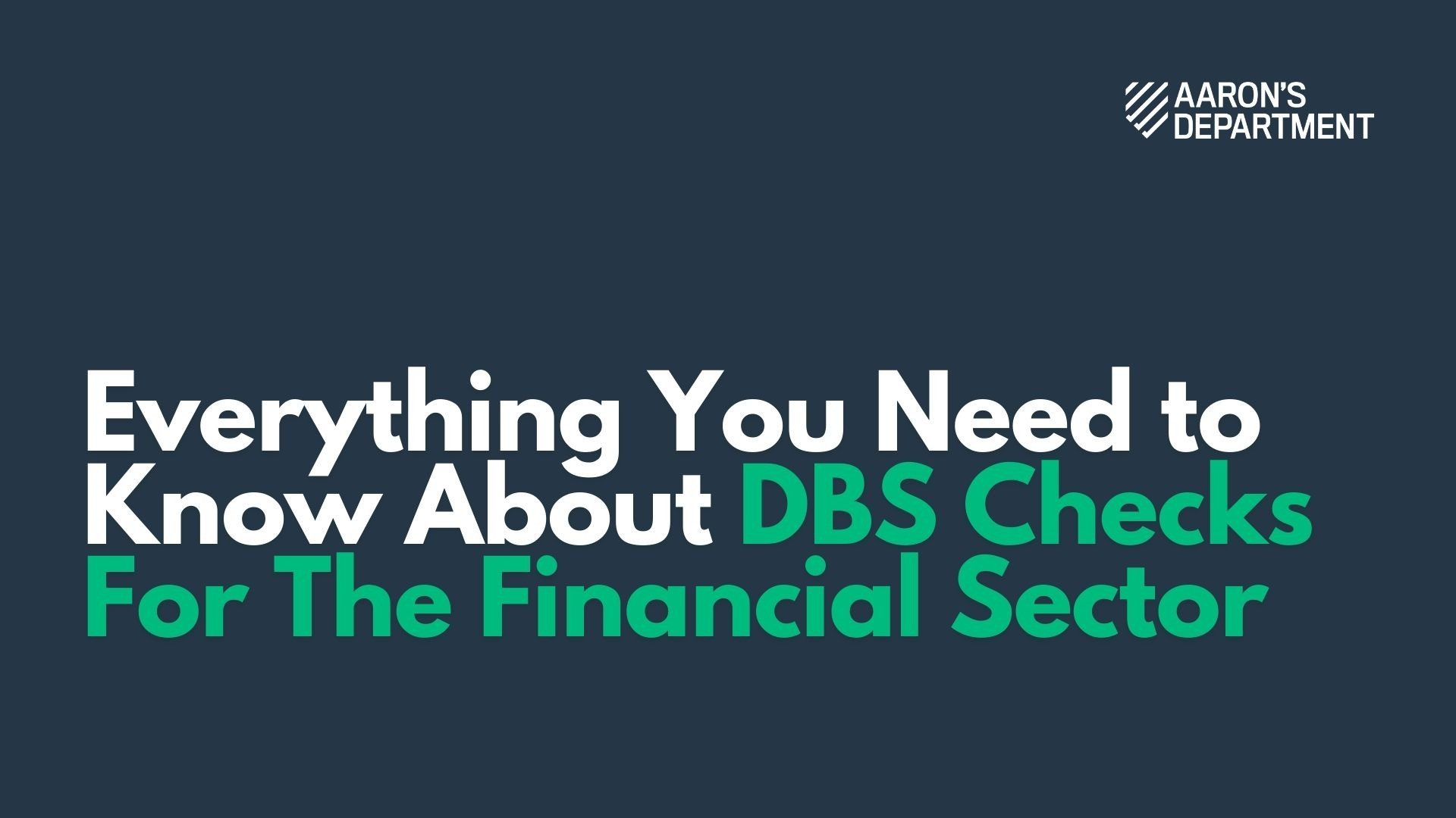 dbs checks for the financial sector